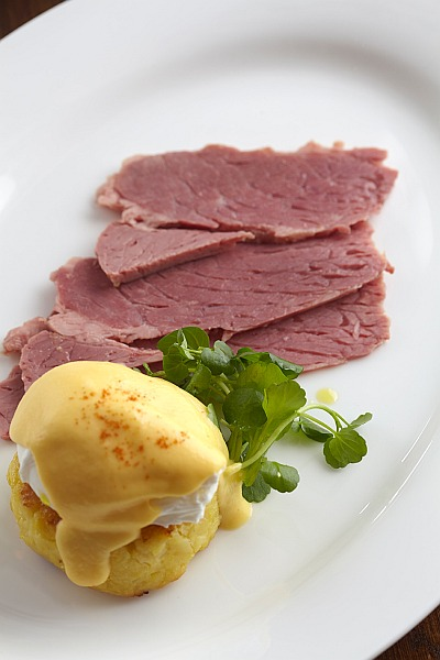 Rosewood London, Holborn Dining Room - Hash Browns, Salt Beef, Poached Egg, Hollandaise Sauce