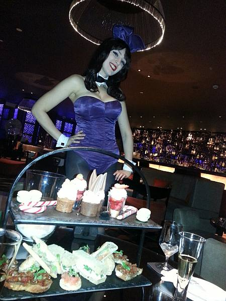 Playboy Bunny in Salvatores, The Playboy Club London, serving tea