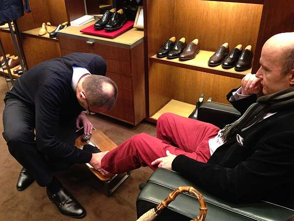 Gentlemans Butler being fitted for Church's Shoes
