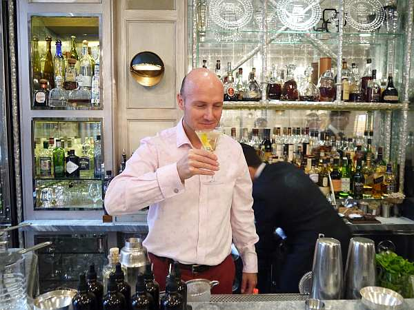 Gentlemans Butler tasting his own Shaken Vodka from The Connaught Bar in Mayfair