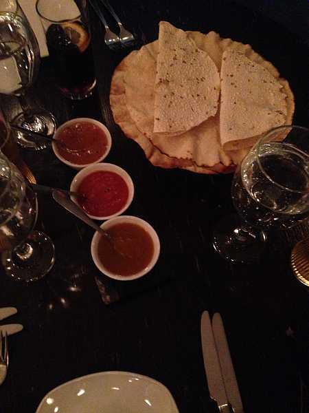 India Dining, Warlingham Poppadom Basket with homemade chutneys