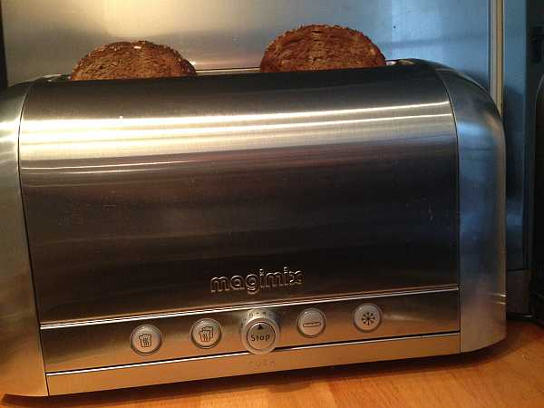 Magimix 4 slice toaster with toast in