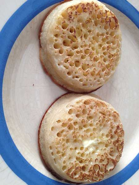 Crumpets with butter cooked from a Magimix 4 slice toaster