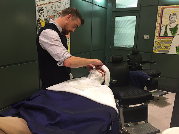 Murdock London - Soho, Gentlemans Butler having his shave and relaxing