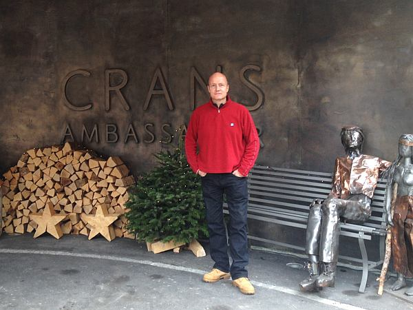 Michael Grenville wearing Wrangler outside the Crans Ambassador Hotel, Crans Montana in Switzerland