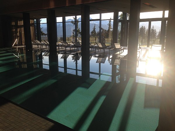 A morning swim at The Crans Ambassador in Crans- Montana, Switzerland