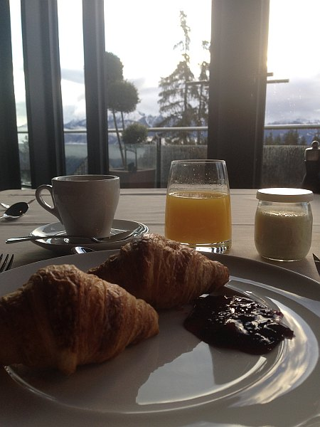 Breakfast croissant at The Crans Ambassador in Crans- Montana, Switzerland
