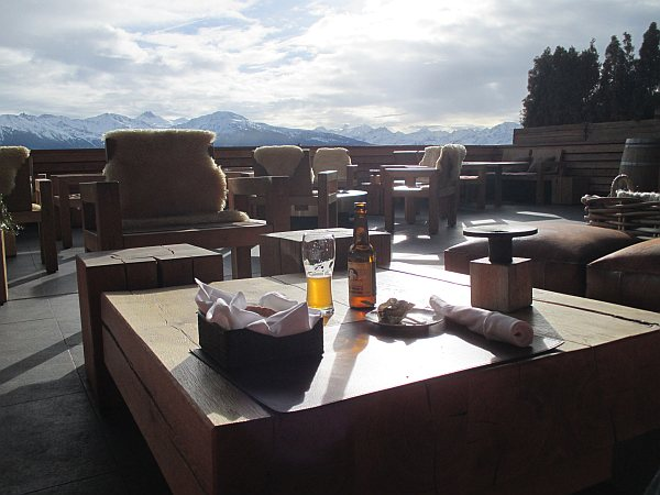 Terrace at The Crans Ambassador in Crans-Montana, Switzerland