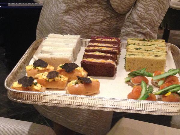 The Langham Hotel London Easter Afternoon Tea - Tray of fresh sandwiches