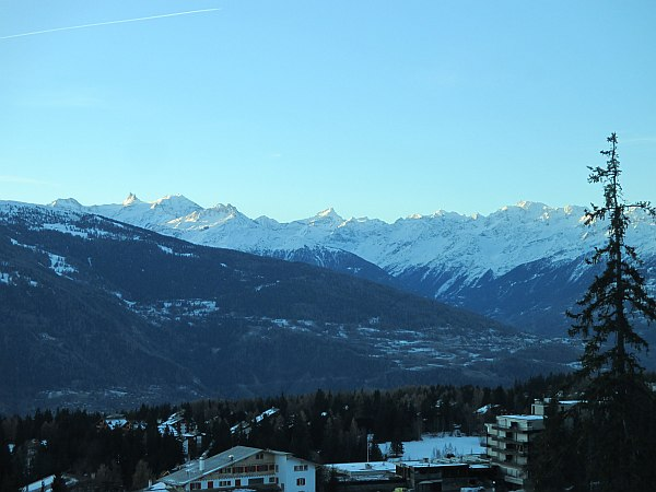 View from the Crans Ambassador in Crans- Montana, Switzerland