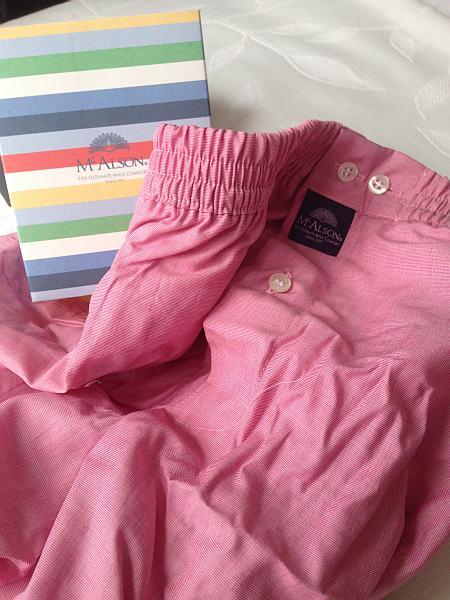Mc Alson pink boxer shorts & packaging - luxurious gentlemen's underwear