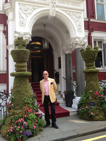 St.James's Hotel and Club Afternoon Tea - Michael on the steps