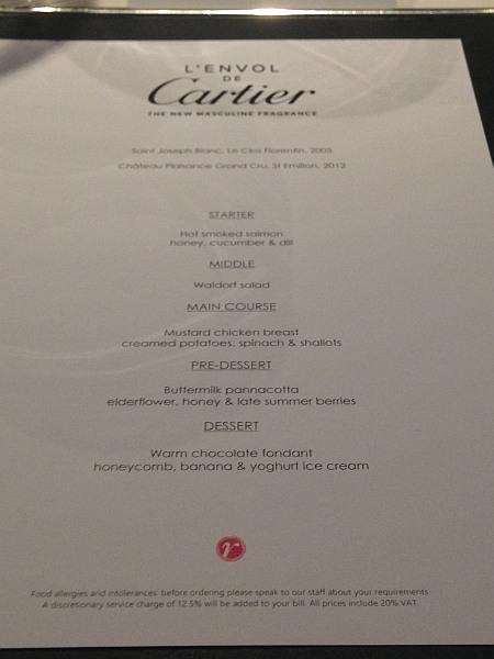 Cartier luxury perfume L'envol at Vinoly Room Skygarden - Menu