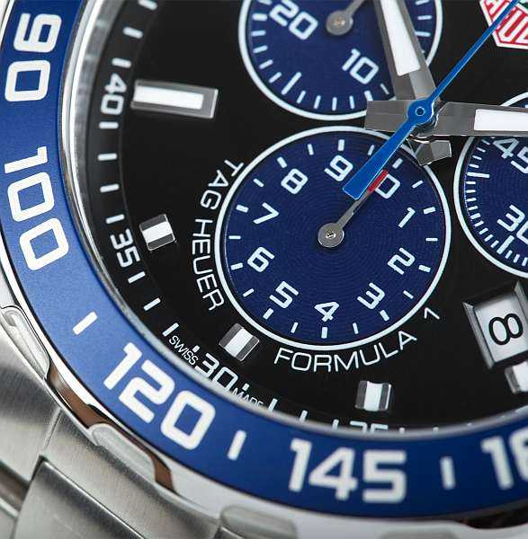Gentlemans limited edition luxury Tag Heuer watch - closeup of watchface