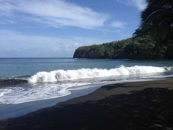 Tahiti black sands beach