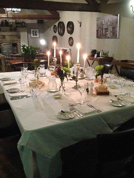 Five ladies and a Butler at The White Swan - The feast awaits our guests in the Bothy at The White Swan