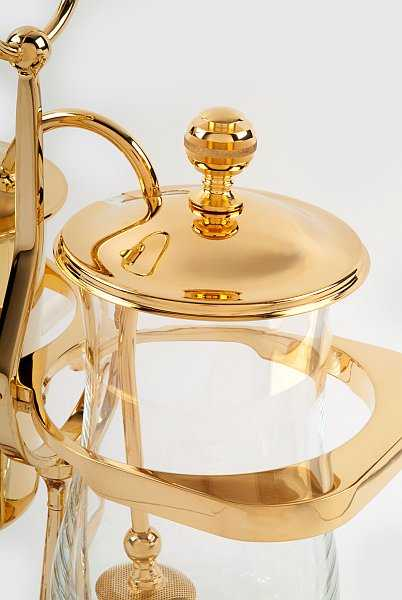 Royal Coffee Maker in gold & crystal for a lavish dinner party - Close Up against white