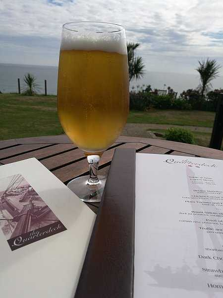 The Nare Hotel, Cornwall offering true English traditional comfort - Having a beer whilst looking at the menus